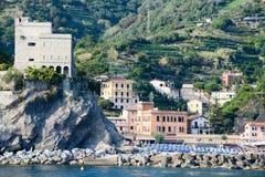 A praia de Monterosso em Cinque Terre, Itália Fotos de Stock