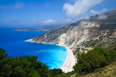 Praia de Myrtos na ilha de Kefalonia, Grécia Imagem de Stock
