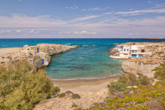 Praia de Mytakas, Milos, Greece Imagem de Stock Royalty Free