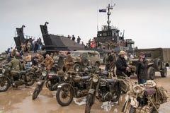 Praia de Normandy no aniversário do dia D Fotos de Stock Royalty Free