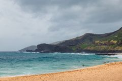 Praia de Oahu com os povos que nadam em ondas grandes fotos de stock royalty free