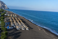 Praia de Perissa em Santorini Foto de Stock