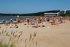 Praia de Pirita em Tallinn Fotografia de Stock Royalty Free