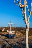 Praia de Plaka, Naxos, Grécia foto de stock