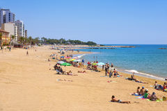 Praia de Playa del Forti em Vinaros, Espanha fotografia de stock royalty free