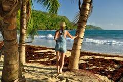 Praia de Playa Rincon na República Dominicana Fotos de Stock Royalty Free