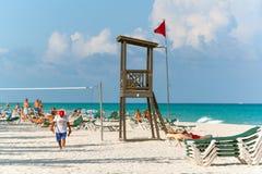Praia de Playacar no mar das caraíbas em México Fotografia de Stock Royalty Free