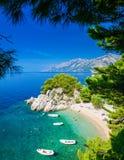 Praia de Podrace em Brela através dos pinheiros Imagens de Stock Royalty Free