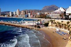 Praia de Poniente, Benidorm, Espanha imagem de stock