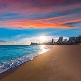Praia de Poniente do playa de Benidorm Alicante foto de stock