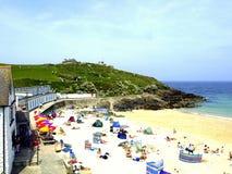 Praia de Portgwidden, St Ives, Cornualha. Imagens de Stock Royalty Free
