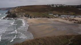 Praia de Porthtowan perto de St Agnes Cornwall England filme