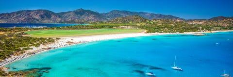 Praia de Porto Giunco, Villasimius, Sardinia, Itália imagem de stock