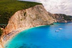 Praia de Porto Katsiki com barcos Foto de Stock