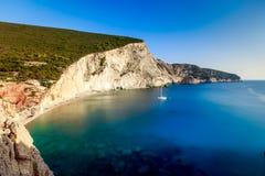 Praia de Porto Katsiki em Lefkada, Greece Fotografia de Stock