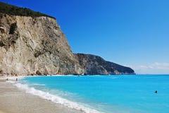 Praia de Porto Katsiki, Lefcada, Grécia foto de stock
