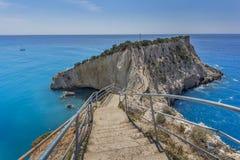 Praia de Porto Katsiki, Lefkada, ilhas Ionian Imagens de Stock Royalty Free