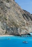 Praia de Porto Katsiki, Lefkada, ilhas Ionian Fotos de Stock Royalty Free