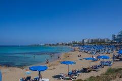 Praia de Protaras, Chipre Fotos de Stock
