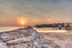 Praia de Punta Cirica no por do sol imagens de stock