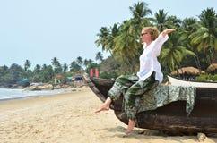 Praia de Rajbag de Goa sul, Foto de Stock Royalty Free