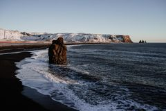Praia de Reinsfjara, Islândia Fotografia de Stock Royalty Free