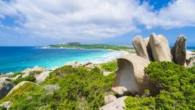 Praia de Rena Di Ponente, ilha norte de Sardinia, Itália Imagens de Stock Royalty Free