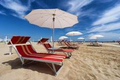 Praia de Rimini e de Riccione. Emilia Romagna, Itália Fotos de Stock Royalty Free