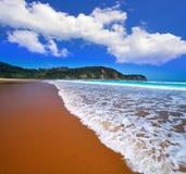 Praia de Rodiles nas Astúrias de spain fotografia de stock royalty free
