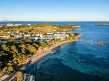 Praia de S 'Argamassa, Ibiza, Espanha fotos de stock
