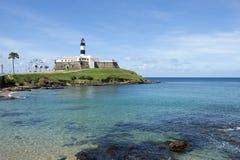 Praia de Salvador Brazil Farol da Barra Lighthouse fotografia de stock