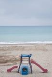 Praia de Savona com ideias dos estabelecimentos da praia imagens de stock