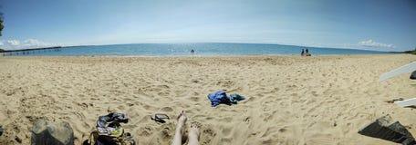 Praia de Scarness panorâmico Imagem de Stock