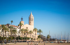 Praia de Sitges em Barcelona Imagem de Stock Royalty Free