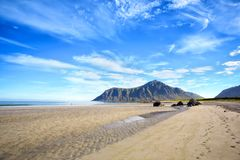 Praia de Skagsanden em Lofoten Foto de Stock Royalty Free