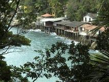 Praia de Sorocotuba em Guaruja, Brasil imagens de stock royalty free