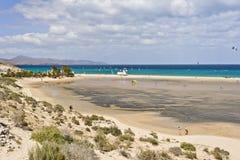 Praia de Sotavento na ilha de Fuerteventura Fotos de Stock Royalty Free