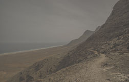 Praia de Surfboard Fuertaventura imagem de stock royalty free