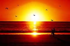 Praia de Susnet Foto de Stock Royalty Free