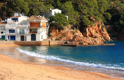 Praia de Tamariu (costela Brava, Spain) Fotografia de Stock