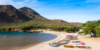 Praia de Tarrafal na ilha do Santiago em Cabo Verde - Cabo Verde imagem de stock