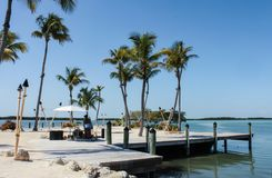 Praia de Tiki construída em uma doca cercada com tourches do tiki com um músico da reggae que joga abaixo das palmeiras imagem de stock royalty free