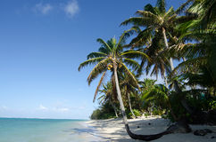 Praia de Titikaveka no cozinheiro Islands de Rarotonga Fotos de Stock Royalty Free