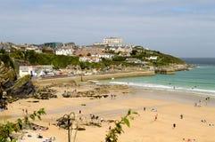 Praia de Towan e porto de Newquay fotografia de stock royalty free