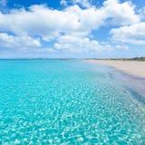 Praia de turquesa do tanga de Formentera Llevant Foto de Stock Royalty Free
