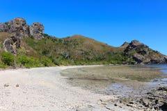 A praia de uma ilha tropical, Fiji fotografia de stock