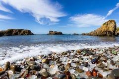 Praia de vidro, Fort Bragg Califórnia fotografia de stock