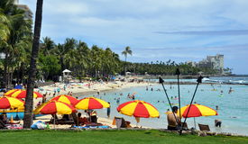 Praia de Waikiki, Oahu, Havaí Imagem de Stock