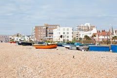Praia de Worthing, Sussex ocidental, Reino Unido imagens de stock