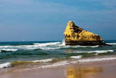 Praia a Dinamarca Rocha Fotografia de Stock